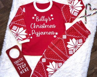 personalised names christmas pyjamas fairisle childrens pyjamas boys christmas pyjamas girls xmas eve pyjamas - Childrens Christmas Pyjamas