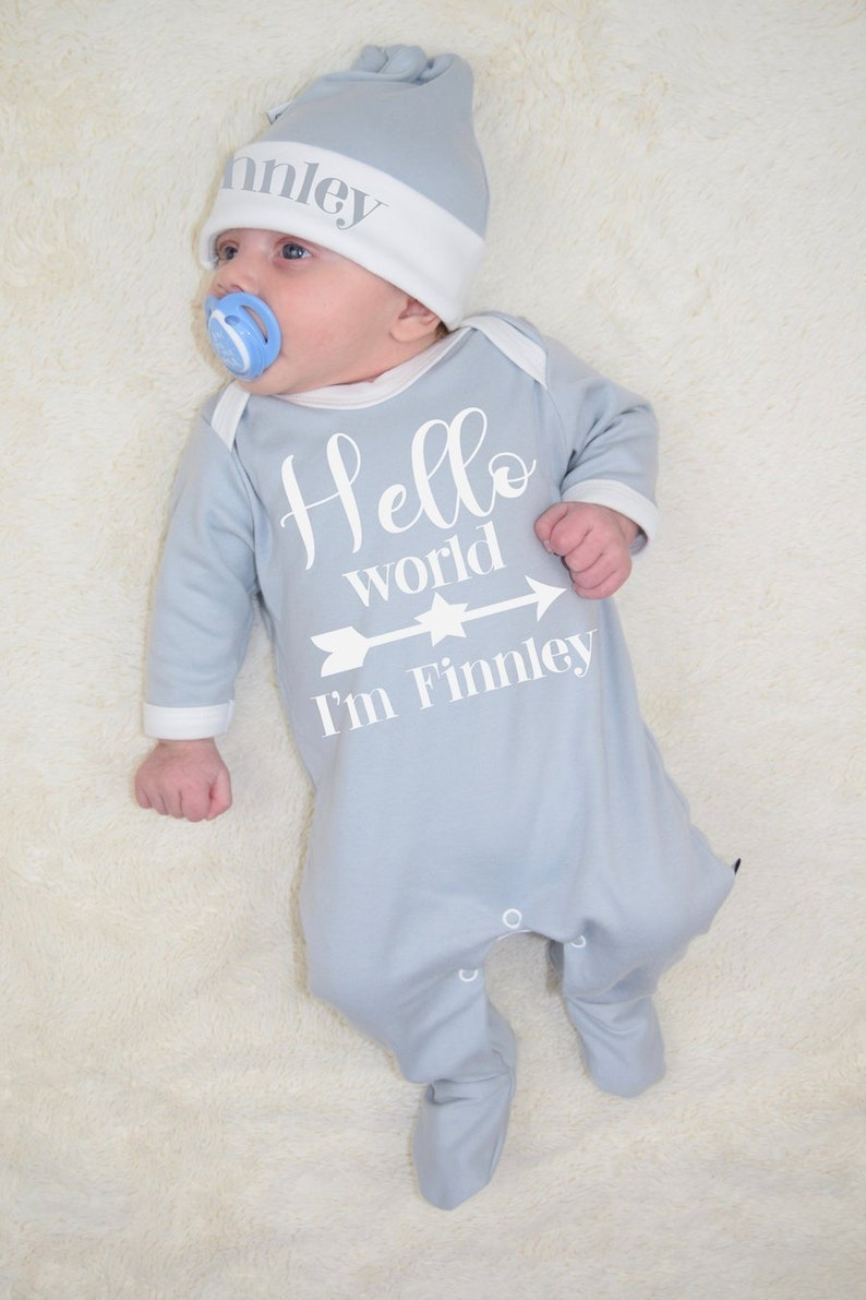 Personalised Hello World Baby Romper and Hat Hospital Outfit New Baby Gifts Star