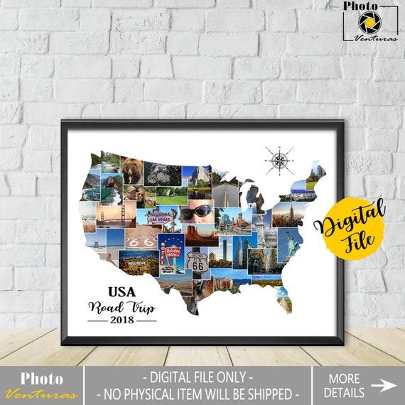 Us Map Photo Collage.Usa Photo Collage United States Collage Us Map Photo Etsy
