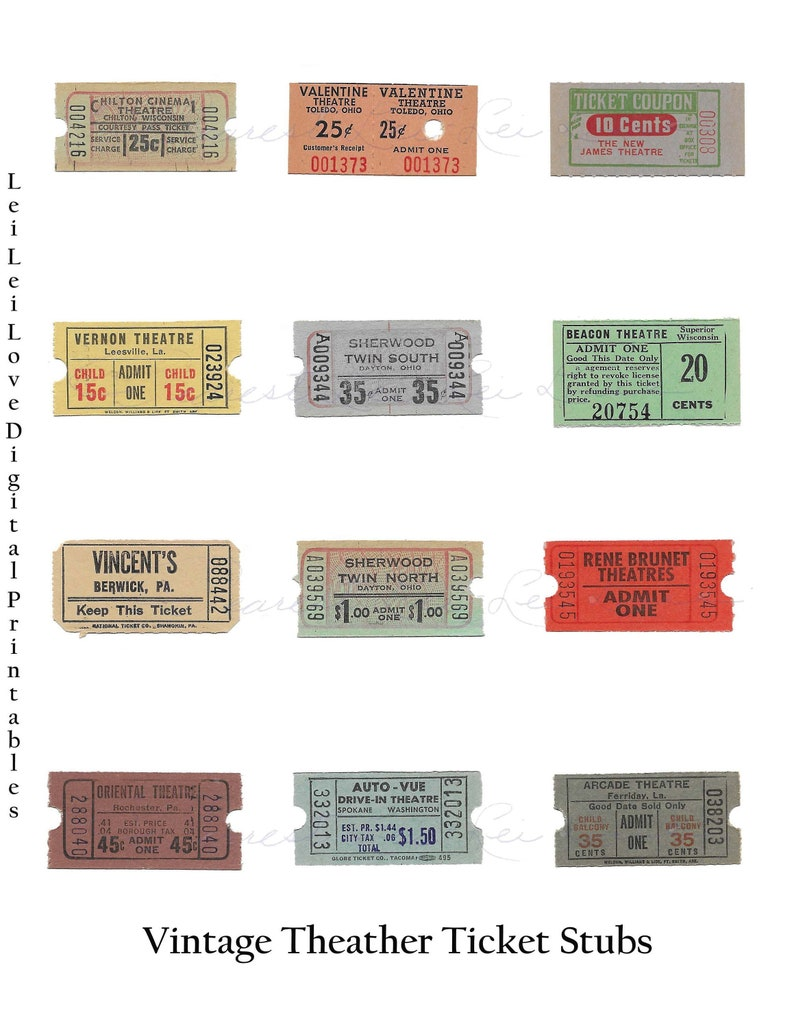 picture relating to Printable Tickets With Stubs known as Traditional Ticket Stubs Printable 12 sum Common Ephemera Outstanding For Junk Magazine Sbooking