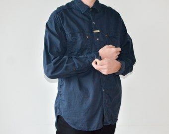 4efe8bf7cba Vintage 90s Replay Dark Blue Button Up Cotton Shirt