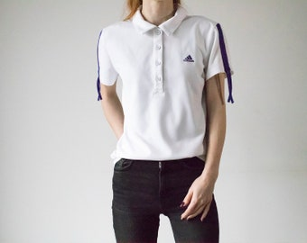 2802d53f4d Vintage 90s Adidas White Short Sleeved Polo Shirt