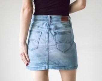 54af8f447 Vintage 90s Hilfiger Denim Light Blue Mini Skirt