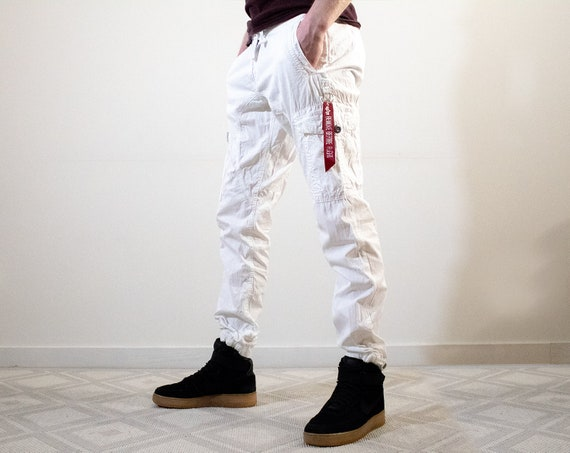 Vintage 90s Alpha Industries White Pants / Sports