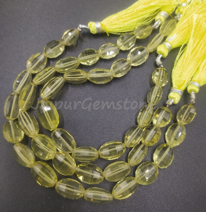 Lovely 8 Strand Natural Lemon Quartz Faceted Oval Shape Step Cut Gemstone Beads Size 8x10-10x14 mm Approx Jewelry Making Crafts Lemon Oval