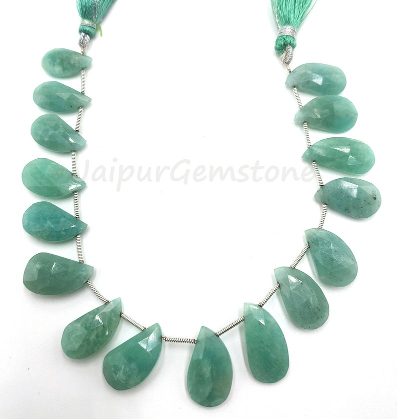 8 Amazonite Faceted Keri Fancy Shape Gemstone Beads \\ Jewelry Making Crafts \\ Natural Amazonite \\ Size 9x15-10x20 mm \\ Loose Gemstone Beads