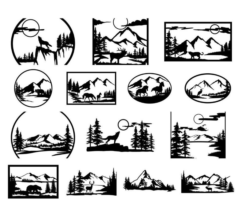 Wildlife ! 14 files for plasma, dxf file, dxf files for laser, dxf files  for cnc, dxf laser, scenery, animals, wall decor, panels