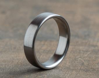 Minimalist titanium ring - Industrial modern ring - Brushed finish - Wedding band - Mens gray ring - Simple titan band - 5 year anniversary