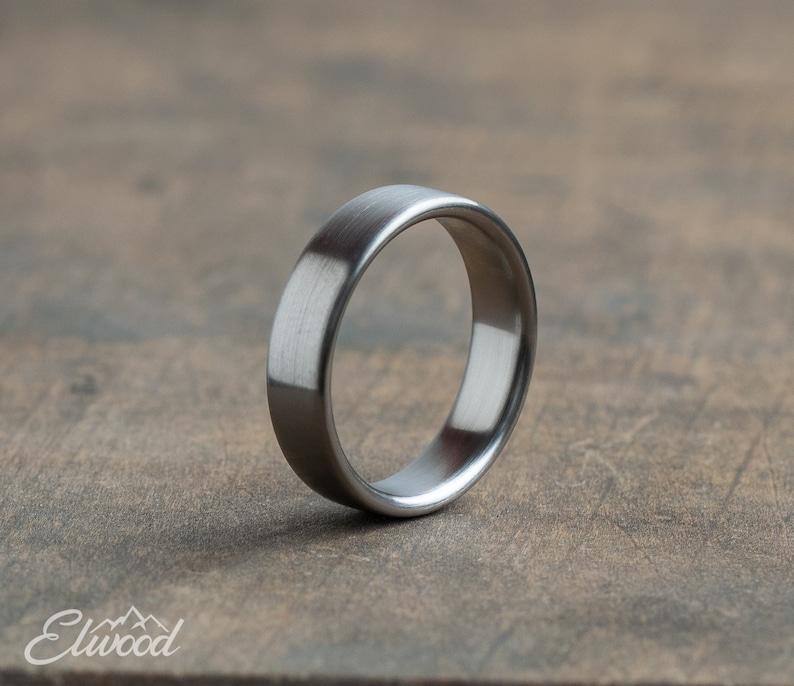 Minimalist titanium ring Industrial modern ring Brushed image 1