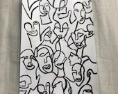 HANDMADE painted abstract faces white and black A6 postcard