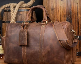 Leather Duffel Bag, Leather Weekender Bag, Distressed Leather Travel Bag,  Full Grain Leather Overnight Bag, Anniversary Gift 25ea54332e