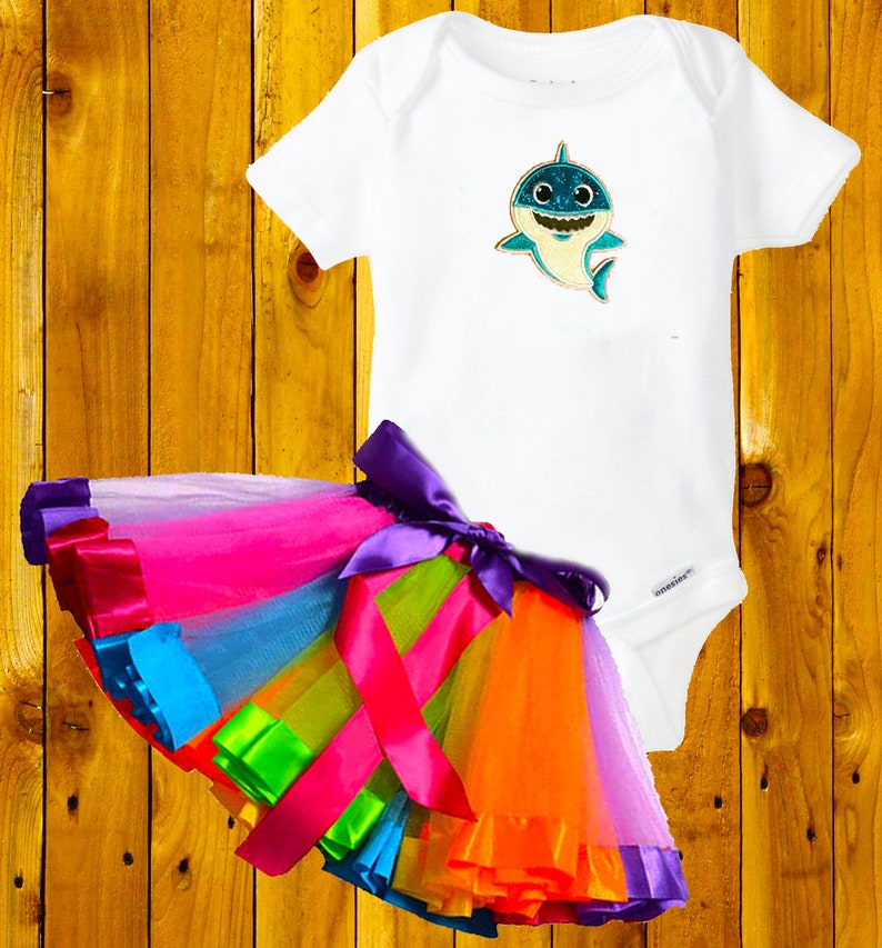 Baby Shark Party Outfit 6 months 2 piece Tutu Dress  costume