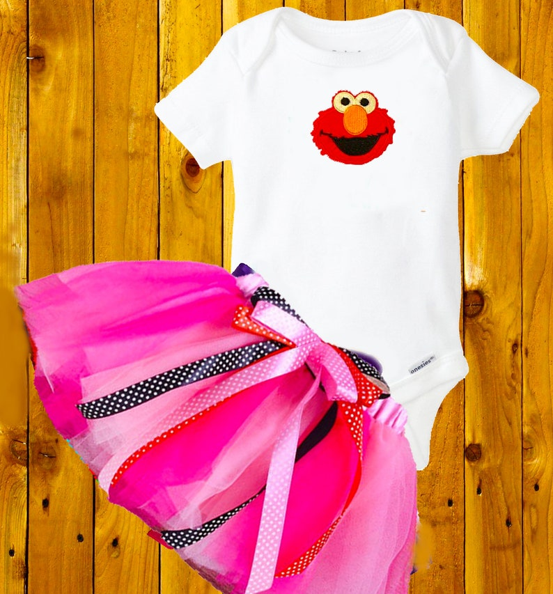 Elmo  Party Outfit 9 months 2 piece Tutu Dress  costume pink