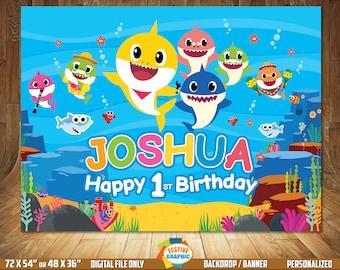 Baby Shark Backdrop, Baby Shark Birthday Backdrop, Baby Shark Birthday Banner, Digital File