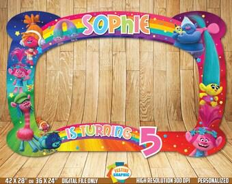Trolls Photo Booth Frame, Trolls Birthday Frame, Trolls Selfie Frame, Digital File