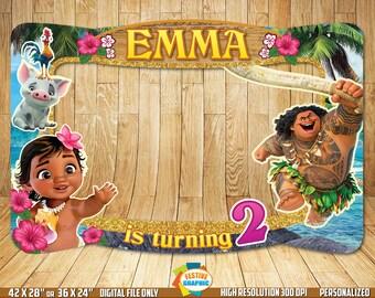 Baby Moana Photo Booth Frame, Baby Moana Birthday Frame, Baby Moana Selfie Frame, Digital File