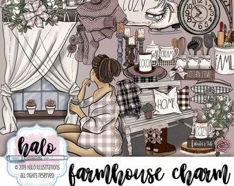 Winter Fashion Clipart, Farmhouse Clipart, Hygge Clipart, Hand Drawn Clip Art, Cozy Winter Clipart, Buffalo plaid clipart, Planner Clipart