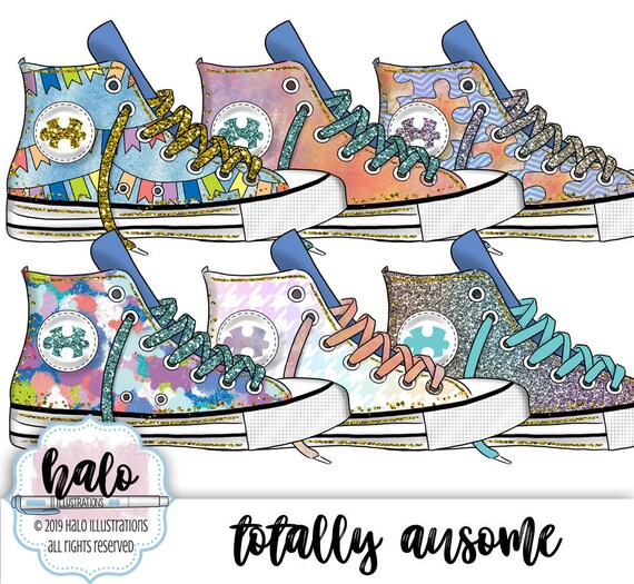 Autism Clipart Puzzle Clipart Rainbow Clipart Planner Clipart Sneaker Clipart Gym Shoe Clipart Hand Drawn Art Fashion Illustration