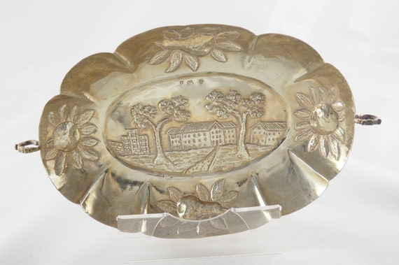 Pseudo Hallmarks Two Handles Brothers Neumann Repousse Decoration Vintage Solid Silver Decorative Dish Hanau Germany 1930s