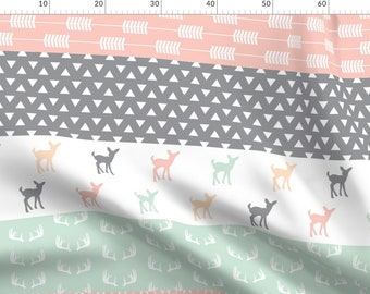 Fox And Deer Mint Fabric 1 Metre x 110cm Width