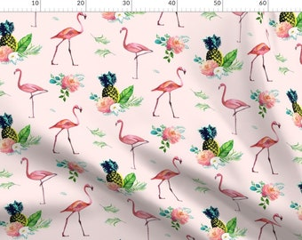 Jungle Boho Flamingo Pink Grey by nouveau/_bohemian Bohemian Bird Rose Floral Cotton Sateen Tablecloth by Spoonflower Flamingo Tablecloth