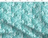 Mint Green Chevron Fabric - Mint Herringbone Watercolor By Mrshervi - Mint Cotton Fabric By The Metre by Spoonflower