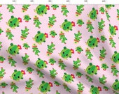 Kawaii Cactus Fabric - Cactus Love 05 By Prettygrafik - Cute Cactus Baby Pink Green Cotton Fabric By The Metre by Spoonflower