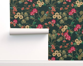 Bohemian Wallpaper - Bohemian Garden {Teal} By Ceciliamok - Teal Pink Custom Printed Removable Self Adhesive Wallpaper Roll by Spoonflower