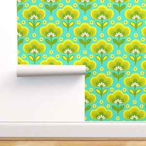 Little Daisy Blue Yellow By Myracle Retro Custom Printed Removable Self Adhesive Wallpaper Roll by Spoonflower Ombre Flowers Wallpaper