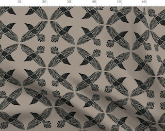 Rravens Fabric - Ravens By Ceciliamok - Ravens Beige Gray Black Bird Birds Animal Vintage Style Cotton Fabric By The Metre by Spoonflower