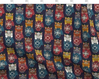 Christmas Cat Mistletoe Fabric - Mistletoe Kitten Mittens By Scrummy - Christmas Holiday Cats Cotton Fabric By The Metre by Spoonflower