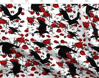 Raven Fabric - Ravens Roses By Bluevelvet - Ravens Roses Thorns Black Red White Gothic Floral Cotton Fabric By The Metre With Spoonflower