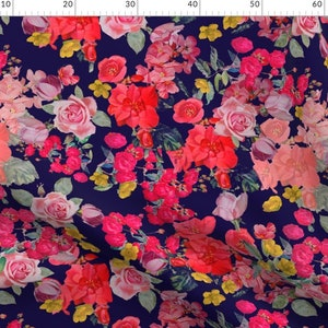 Vintage Roses  Navy by theartwerks Vintage Garden  Roses Spring Cotton Sateen Table Runner by Spoonflower large Floral Table Runner