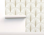 Art Deco Wallpaper - Burst Gold On White By Anvil Studio - Art Deco Custom Printed Removable Self Adhesive Wallpaper Roll by Spoonflower