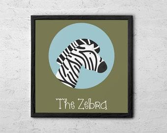 The Zebra Cute Portrait - Baby Room Nursery Art Poster Print