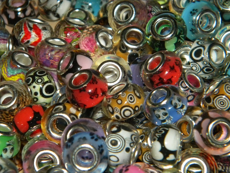 NEW 150Pc large hole European beads lot mixed random picked High Quality resin and Colorful Fit most European charm bracelets
