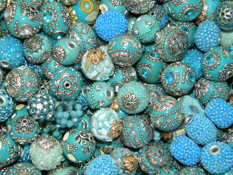 New 15Pc Light Blues FANCY BOHO Elite Artisan Focal Only Jesse James beads mixed  beads lot 10mm-25mm *FREE Shipping*