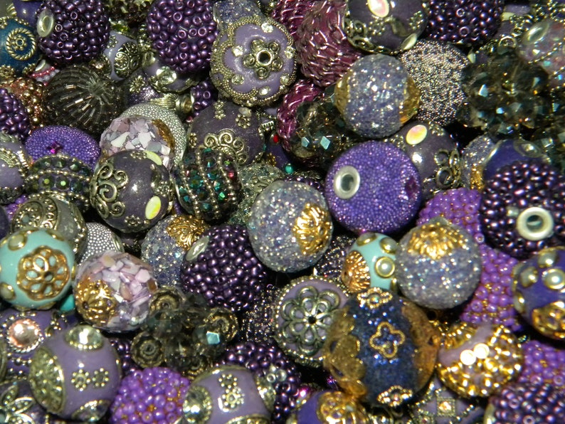 New 15Pc PurpleMauveLavenderPlum FANCY BOHO Elite Artisan Focal Only Jesse James beads mixed  beads lot 10mm-25mm *FREE Shipping*