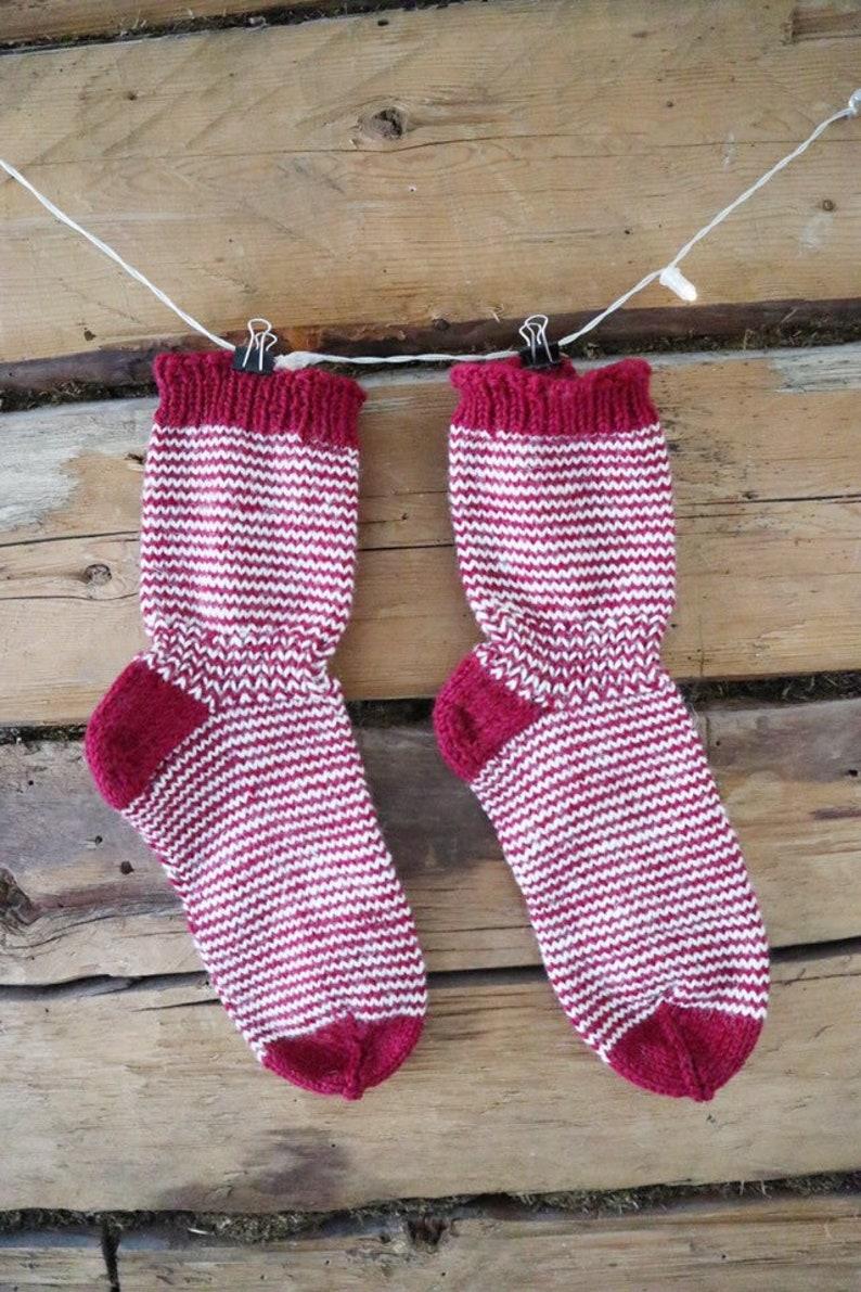 Christmas woolen socks \u2013 Holiday socks \u2013 Hand knitted socks