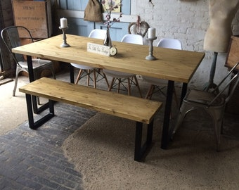 f4e716c0e1e0d TABLE  Industrial Rustic U Frame Steel Base dining room   kitchen table  ONLY. Solid Wood. Steel. Metal. Chairs   bench are NOT included.