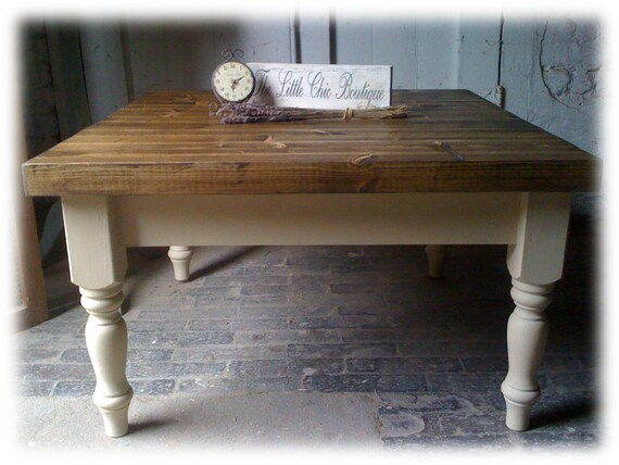 Swell Custom Made Finish Farmhouse Plank Top Coffee Table Solid Wood Shabby Chic Short Links Chair Design For Home Short Linksinfo