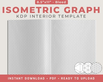 """Isometric Graph Paper (Bleed Design) - 8.5""""x11"""", KDP Interior Template, Low Content Interior, 120 Pages"""
