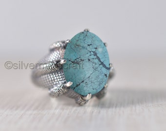 b7e571ff56a850 Solid 925 Sterling Silver Ring Genuine Tibetan Turquoise Men Ring Eagle  Design Heavy Silver Ring Mens Gemstone Ring Occasion Gift Jewelry