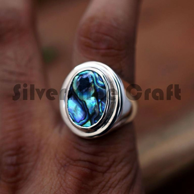 ABALONE SHELL GEMSTONE 925 SILVER ARTISAN HANDCRAFTED WESTERN VINTAGE MENS RING