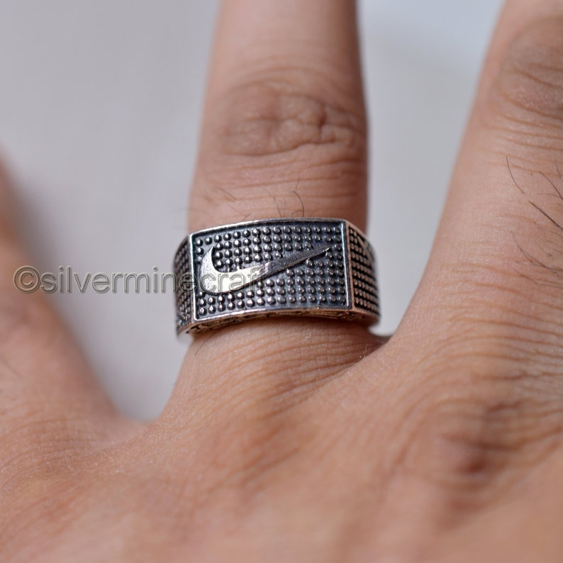 Handmade 925 Sterling Silver Mens Woman's Ring Nike Ring Oxidized Jewelry Nike Men's Ring Men's Signet Ring Heavy Jewellery Unisex Jewelr