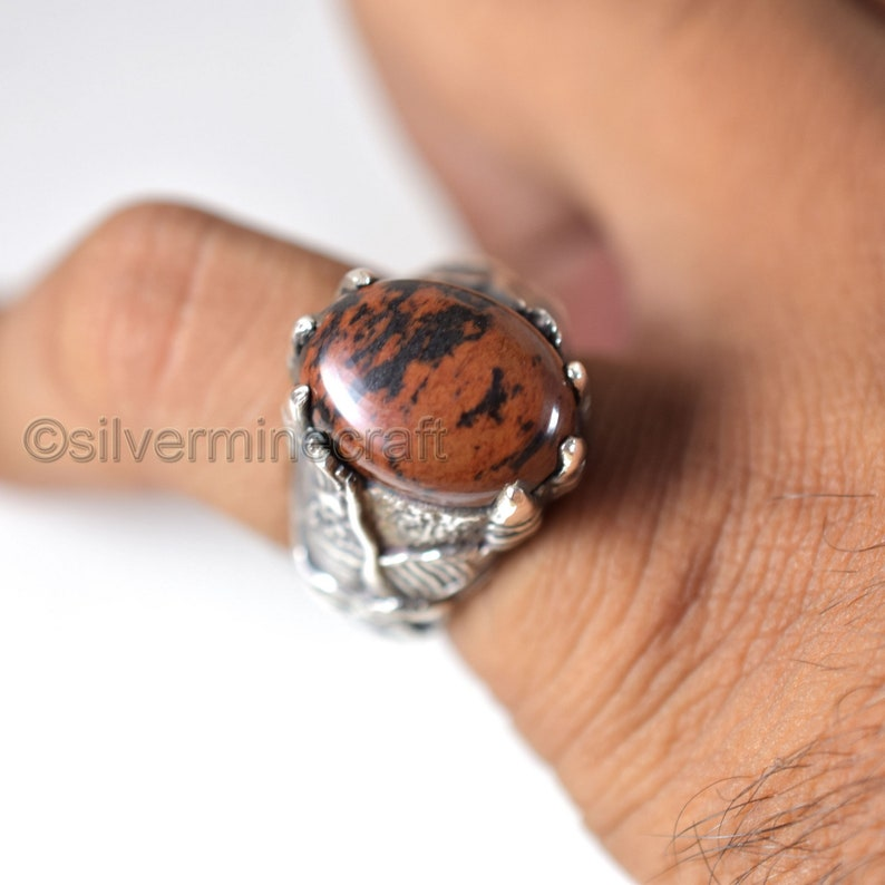 925 Sterling Silver Ring Natural Mahogany Obsidian Mens Gemstone Ring Eagle Claw Designer Ring Huge Ring Heavy Silver Ring Father/'s Day Ring
