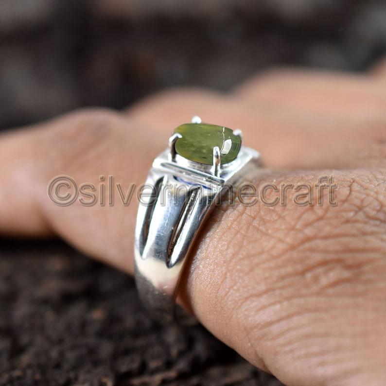 Mens Prehnite Engagement Ring Green Gemstone pure 925 Sterling Silver Handcrafted Prehnite Jewelry Mens Designer Wedding Ring Etsy Sale!