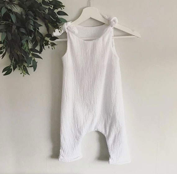 Baby Romper  Adjustable Straps for Growth  Boho Baby Romper  Double Gauze  Unisex Romper  Boho Toddler Clothes Sustainable