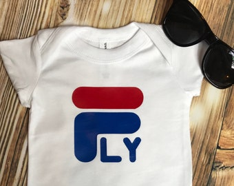 cbae4b8e1 FLY Toddler T-shirt Fila inspired Red White and Blue, athletic kids wear,  high fashion,trendy, kids fila outfit,stay fly