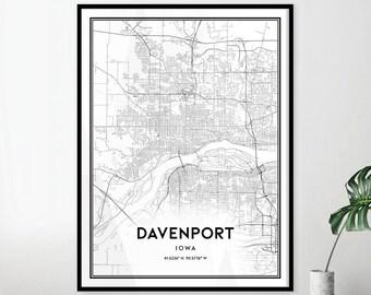 Davenport Iowa Map Etsy